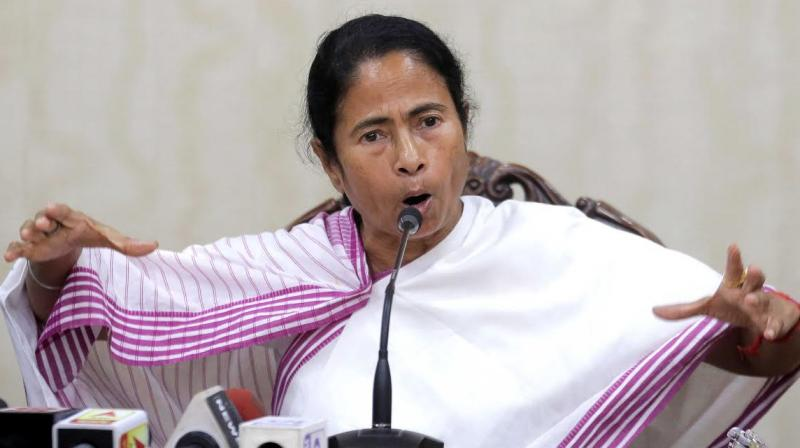 West Bengal Chief Minister Mamata Banerjee addresses mediapersons at Nabanna. (Photo: Abhijit Mukherjee)