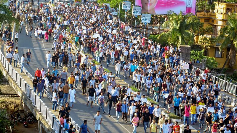 A massive protest in Assam against mob violence in 2018. (PTI)