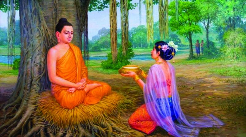 Buddha received bowl of Kheer from the cowherd girl, Sujata