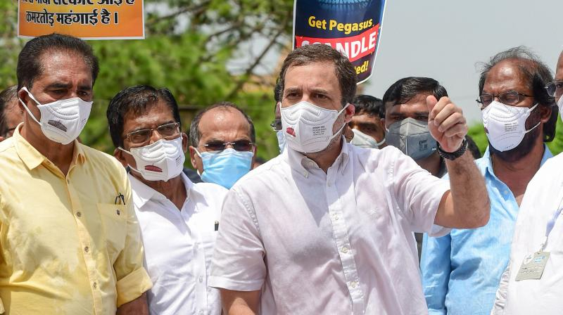 Congress leader Rahul Gandhi along with other opposition parties' leaders talks to the media at a protest march against the curtailment of the Monsoon Session of Parliament, in New Delhi, Thursday, Aug 12, 2021. (PTI/Kamal Kishore)
