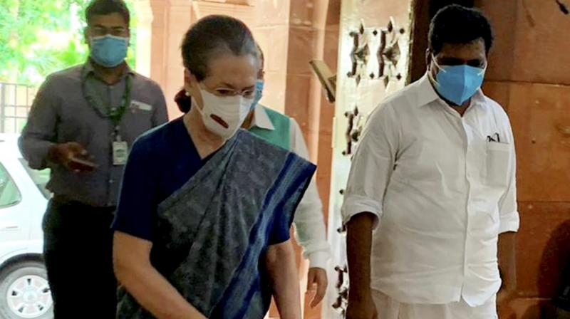 Congress Interim President Sonia Gandhi arrives during the Monsoon Session of Parliament in New Delhi, Wednesday, Aug 11, 2021. (PTI)