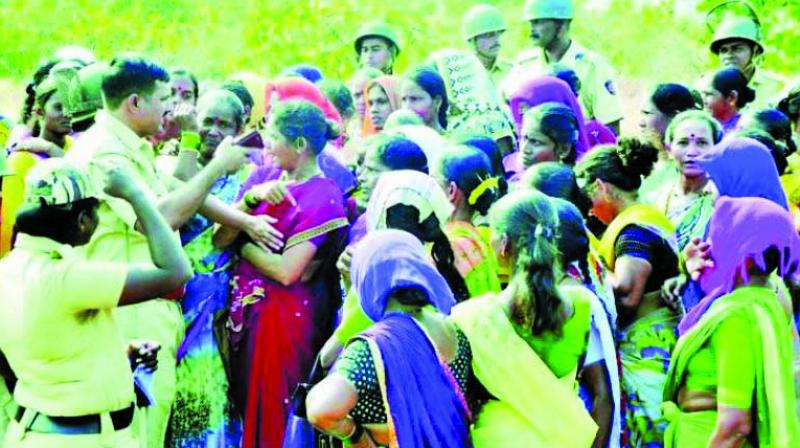Villagers protesting against the Nanar refinery.