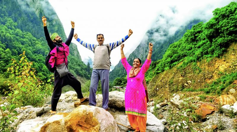 Surya Prithvi Nain with parents Prem Lata and Sahab Singh at the Valley of Flowers, Uttarakhand.