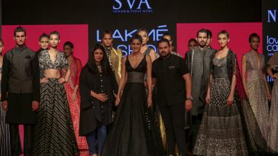 Diva Dhawan was the show stopper for SVA by Sonam and Paras Modi. The shimmery black gown had a broad, brocade panel at the wasit. (Photo: Shripad Naik)
