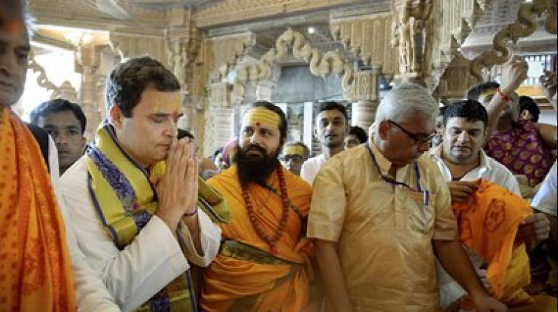 Congress vice-president Rahul Gandhi offers prayers at Dwarkadhish Temple, Dwarka in Gujarat.
