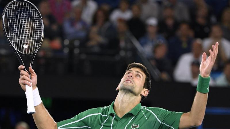 Serbia's Novak Djokovic gestures during his men's singles final against Austria's Dominic Thiem at the Australian Open tennis championship in Melbourne, Australia on Sunday. AP photo