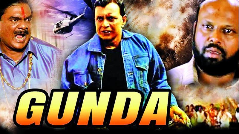 Gunda's poster; (below) Mukesh Rishi as Bulla in the movie