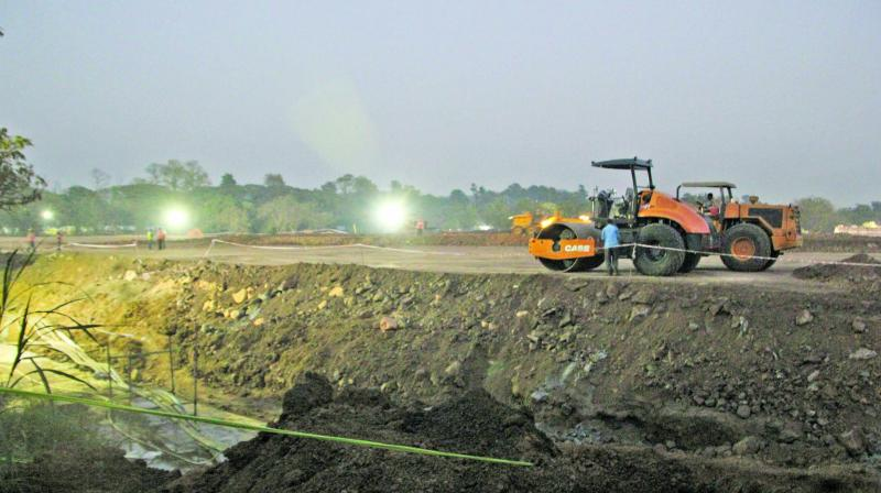 The ongoing construction work for the Metro-3 carshed at Aarey Milk Colony. (Photo: Mrugesh Bandiwadekar)