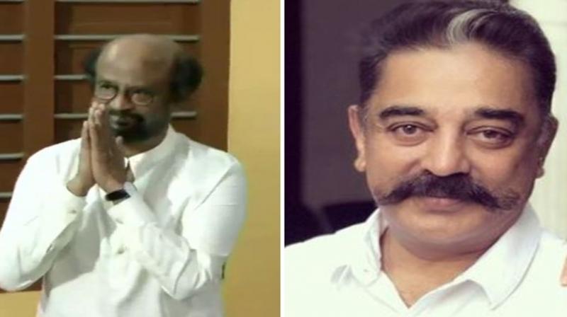 Rajinikanth and Kamal Haasan cast votes in Chennai. (Photo: ANI)
