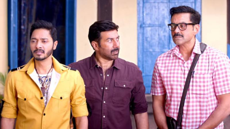 Shreyas Talpade, Sunny Deol and Bobby Deol in a still from 'Poster Boys.'