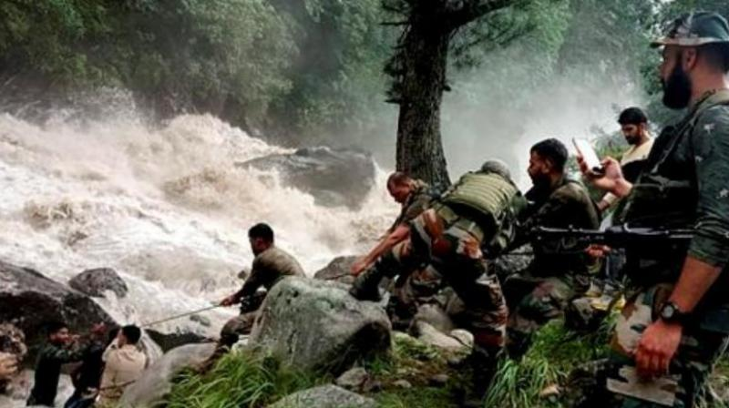 In Lahaul's Udaipur, two tents of labourers and a private JCB were washed away in the flash floods around 8 pm on Tuesday. —  Representational image/PTI