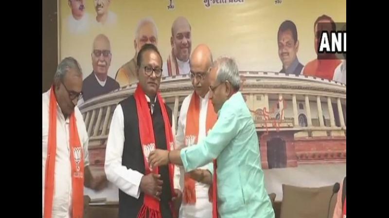 Purushottam Sawariya, a former Congress MLA, joined the BJP on Monday in Gandhinagar. (Photo: ANI)