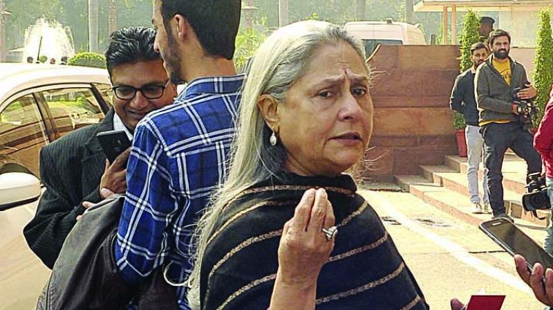 SP MP Jaya Bachchan during the Winter Session of Parliament in New Delhi on Monday. (Photo: PRITAM BANDYOPADHYAY)