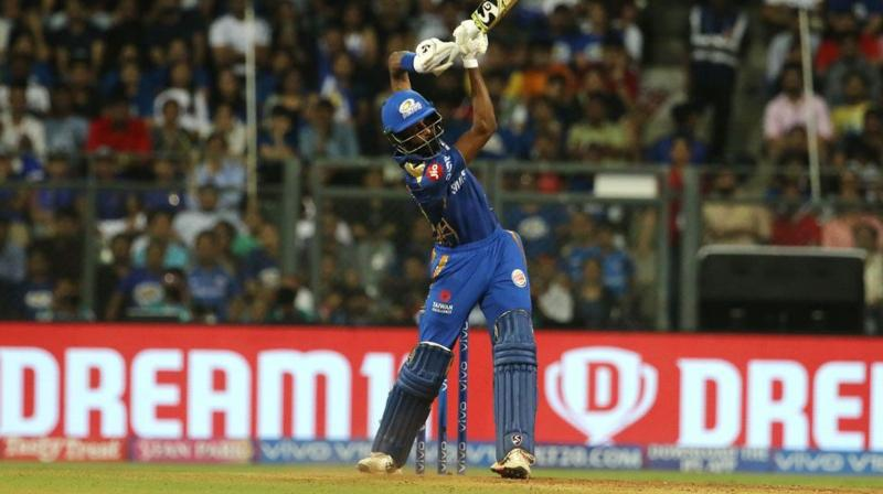 'Hardik's hitting has been helping the team and him as well to move forward. This is something he wanted to do because he didn't have a lot of time before coming to the IPL', the MI captain said. (Photo: BCCI)