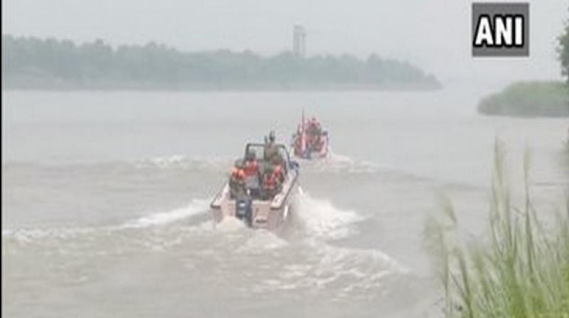 Patrolling parties of the BSF secure the border day and night to prevent infiltration as the water level in the river rises during rainfall, an official said. (Photo: ANI)
