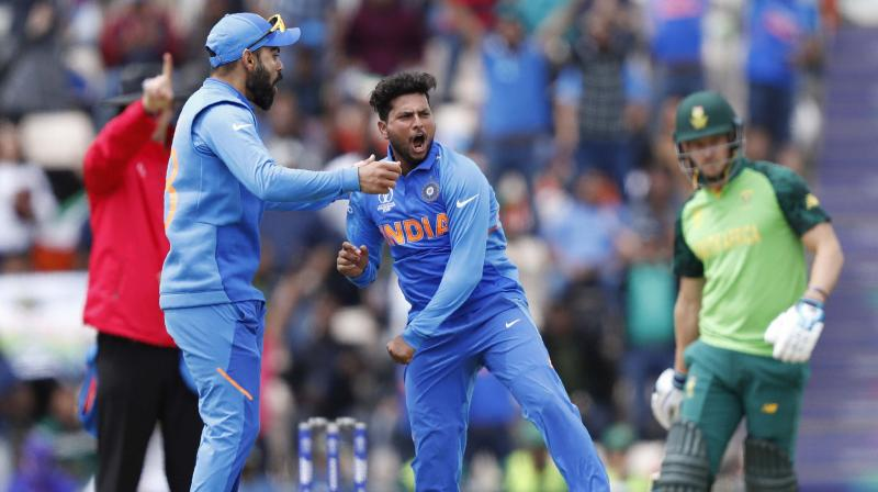 The Indians, who are chasing their third World Cup title, condemned the South Africans to their third successive loss in the tournament after Yuzvendra Chahal bamboozled the batsmen with his leg spin as he grabbed four wickets for 51 runs, while fellow spinner Kuldeep Yadav chipped in with a wicket. (Photo:AP/PTI)