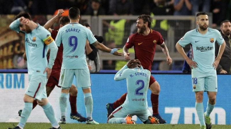 Lionel Messi and Co. lost to Roma 3-0 in Italy earlier this week, relinquishing a 4-1 first-leg win and getting eliminated in the quarter-finals for the third straight season. (Photo: AP)