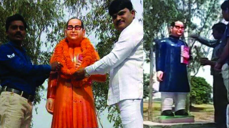 A statue of B.R. Ambedkar in Dugraiyya village in Uttar Pradesh's Badaun district where his saffron coat was painted blue (right) after protests by dalits.