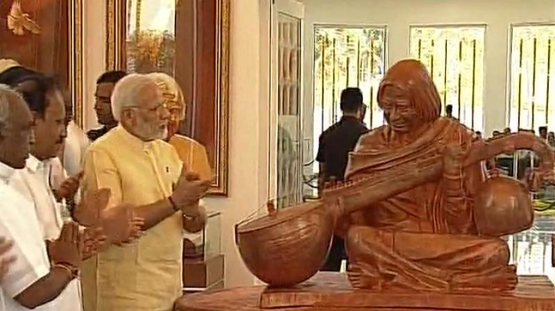 Prime Minister Narendra Modi inaugurates Dr APJ Abdul Kalam memorial at Pei Karumbu in Rameswaram. (Photo: Twitter | ANI)