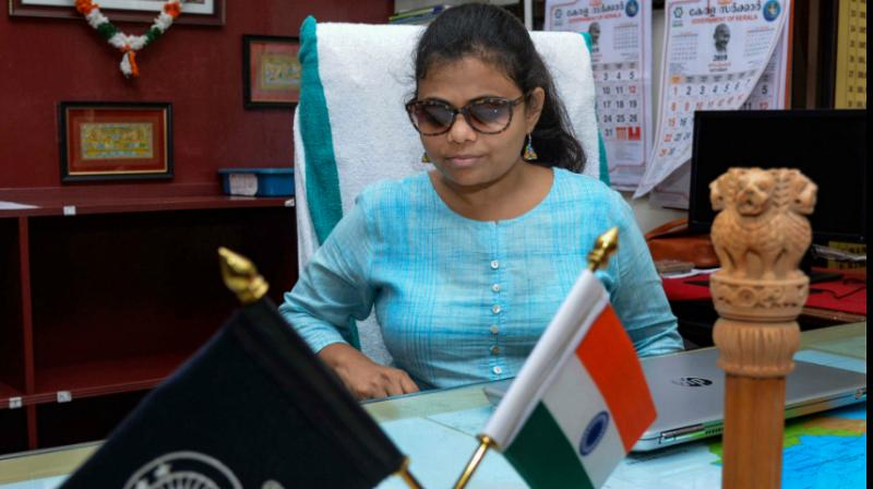 Pranjal Patil, the country's first visually challenged woman IAS officer, as she assumed charge as the Sub Collector of Thiruvananthapuram here on Monday. (Photo: PTI)