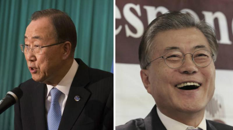 United Nations Secretary-General Ban Ki-moon(right) and Possible South Korean presidential contender Moon Jae-in(left). (Photo: AP)