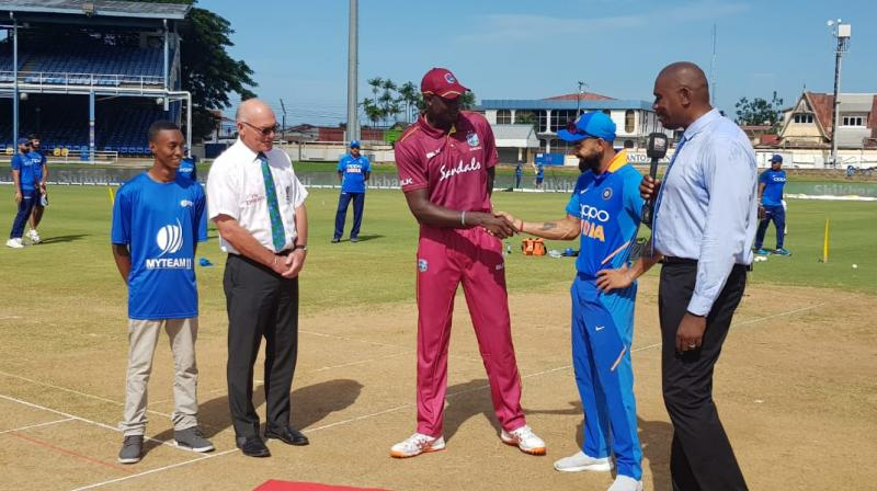 Virat Kohli said during the toss: 'Just an opportunity to come out and do something challenging. We just spoke about how in the last game, after the drinks break, we lost our way a little bit. When you have played cricket for long periods of time, you can make those mistakes, and it brings in the other team.' JAson Holder shakes hands with Virat Kohli during the third and final OD between India and West Indies. (Photo:BCCI/Twitter)