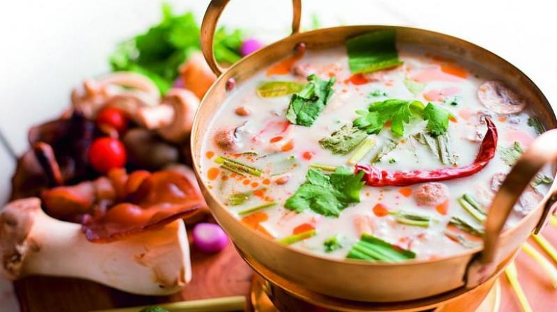 Green thai spring vegetable soup.