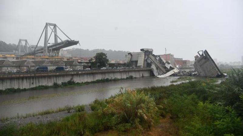 A view of the collapsed Morandi highway bridge in Genoa, northern Italy, Tuesday, August 14, 2018. (Photo:AP )