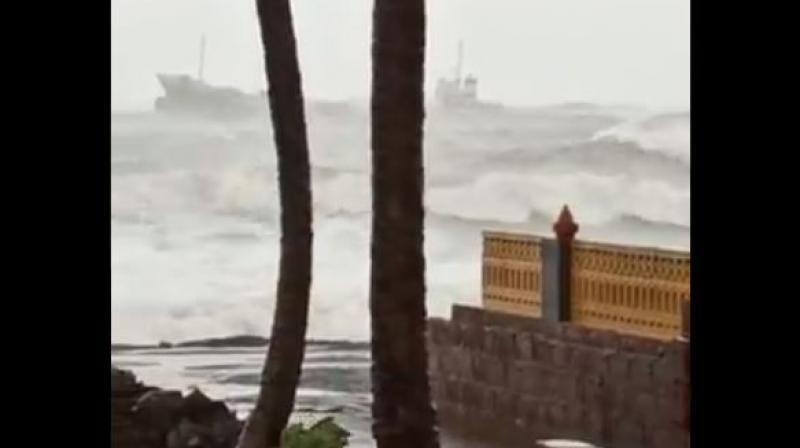 The impact of the cyclone as seen on the Ratnagiri coastline. (Twitter)