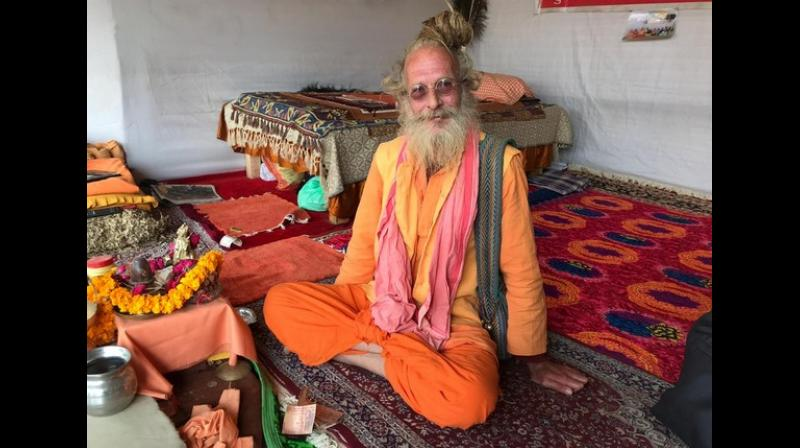 The latest attraction at Kumbh Mela, Australian ascetic-Sharabhang Giri. (Photo: ANI)