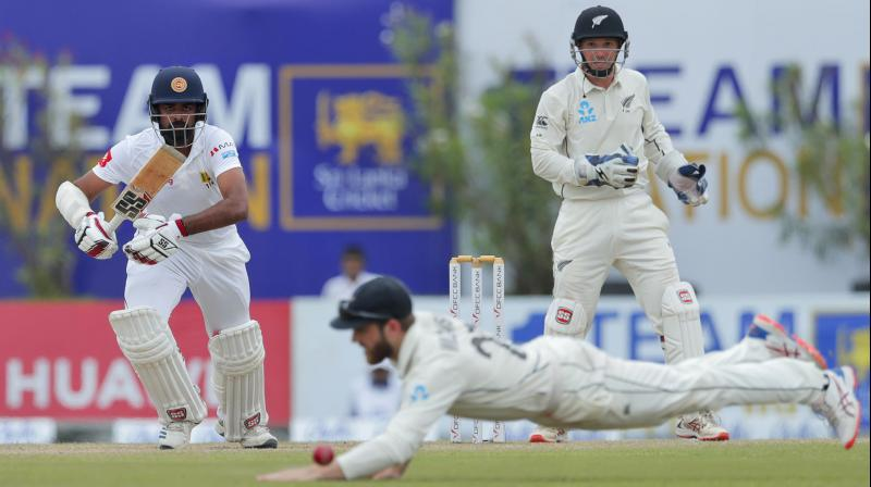 New Zealand were bowled out for 285 in their second innings on Saturday, setting Sri Lanka a tough target of 267 runs to win the first Test at Galle. (Photo: AP)