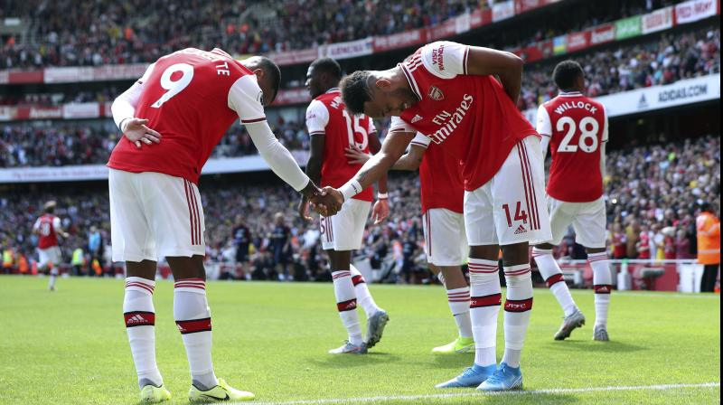 Aubameyang had netted the only goal in last weekend's win at Newcastle and he emulated that crucial contribution with another decisive strike at the Emirates Stadium. (Photo: AP)
