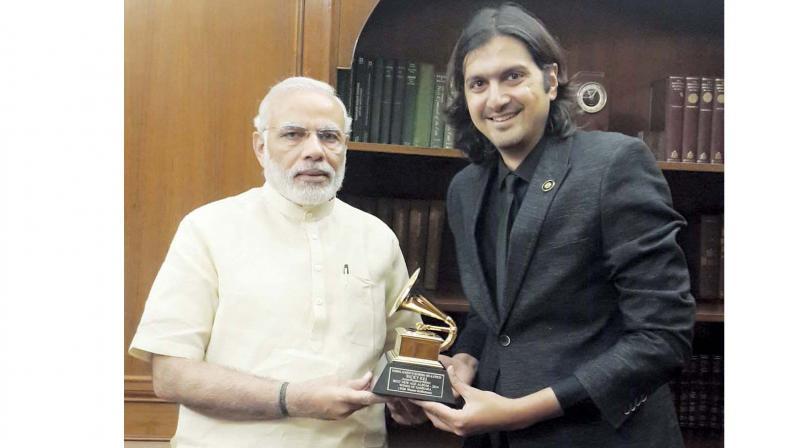 Rickey Kej with Prime Minister Narendra Modi.