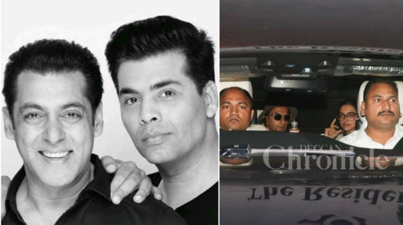Salman Khan poses with Karan Johar, Ranveer Singh and Deepika Padukone spotted outside KJo's office.