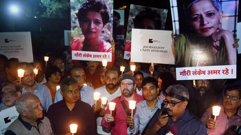 Lankesh, a left-leaning journalist-activist, was shot dead on September 5, 2017 outside her house here by a member of a gang.(PTI file photo)