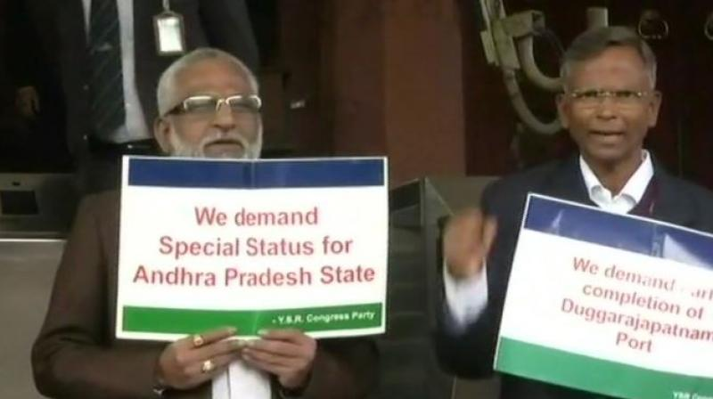 Earlier, as agitated MPs from Andhra Pradesh continued their protests during Question Hour, the proceedings were adjourned for ten minutes till 11:20 am. (Photo: ANI/Twitter)