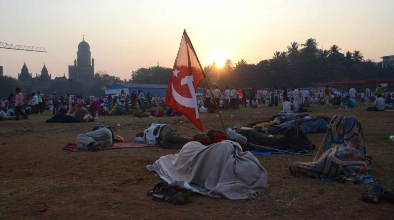 The farmers walked from Nashik to Mumbai under the banner of the Akhil Bhartiya Kisan Sabha (AIKS) of the CPI(M) with a slew of demands, including their right to till forest land and a complete loan waiver. (Photo: Shripad Naik/ Asian Age)