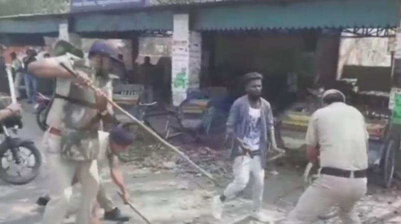 Police lathicharges protesters in Haryana's Yamunanagar. (Photo: ANI)