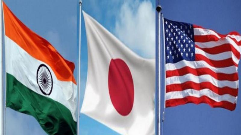 The officials of India, Japan and the US reviewed the outcomes of the trilateral infrastructure working group that met in Washington DC in February and agreed to continue to collaborate to promote increased connectivity in the Indo-Pacific, the MEA said. (Photo: ANI)