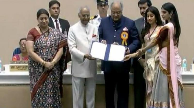 President Ram Nath Kovind presented the National Award for best actor (female) to Sridevi (posthumously) for the movie 'MOM'. The award was received by her husband Boney Kapoor and daughters Janhvi and Khushi Kapoor. (Photo: ANI | Twitter)