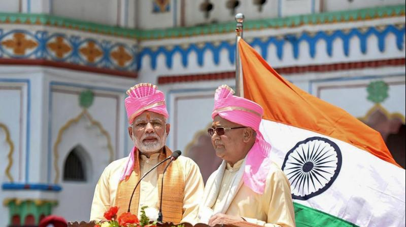 Speaking at a civic reception by the Janakpur Sub-Metropolitan City at Barhabigha ground in Janakpur, Modi briefly spoke in Nepali and Maithili. He began his address by chanting 'Jay Siya Ram' slogan three times. (Photo: PTI)