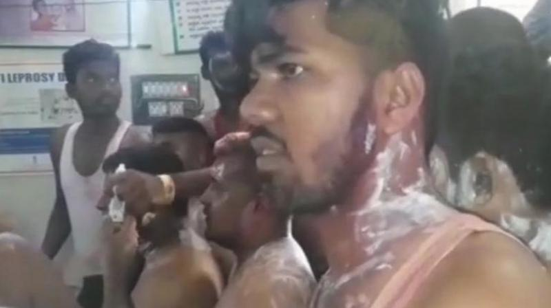 According to reports, police said that someone within the crowd sprayed some liquid that caused skin irritation and allergy to people. (Photo: Twitter | ANI)
