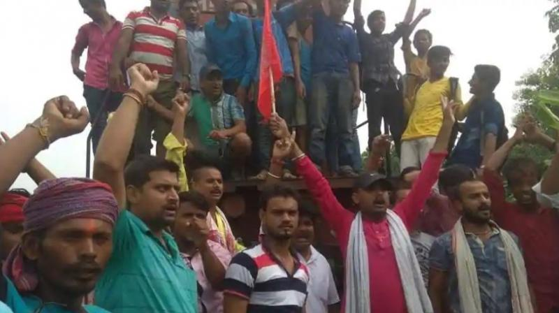 Protesters stopped trains in Bihar's Darbhanga and Munger and high alert was issued in 35 districts of Madhya Pradesh.  (Photo: ANI)