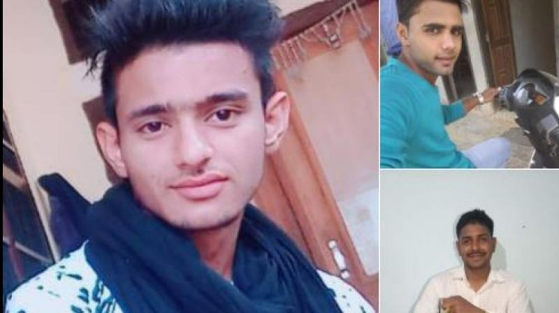 Rewari police has released photos of the three accused, Manish (left), Nishu (top right) and Pankaj - an Army personnel (bottom right). (Photo: ANI | Twitter)