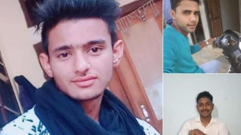 Rewari police has released photos of the three accused, Manish (left), Nishu (top right) and Pankaj - an Army personnel (bottom right). (Photo: ANI   Twitter)