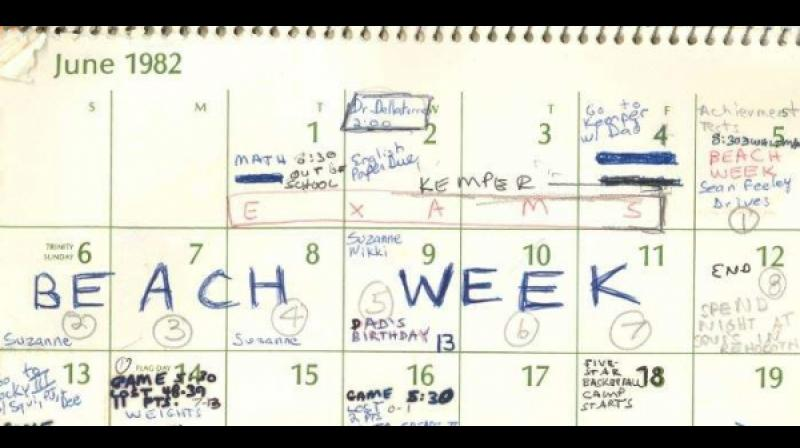 This image released by the Senate Judiciary Committee, Wednesday, Sept. 26, 2018 in Washington, shows Supreme Court nominee Judge Brett Kavanaugh's calendar, from the Summer of 1982. (Photo: AP)