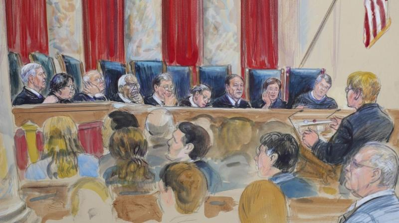 This courtroom sketch depicts Attorney Brenda G. Bryn, far right standing, speaking in front of from l-r, Associate Justice Neil Gorsuch, Associate Justice Sonia Sotomayor, Associate Justice Stephen Breyer, Associate Justice Clarence Thomas, Chief Justice of the United States John Roberts, Associate Justice Ruth Bader Ginsburg, Associate Justice Samuel Alito Jr., Associate Justice Elena Kagan and Associated Justice Brett Kavanaugh, at the Supreme Court in Washington. (Photo: AP)