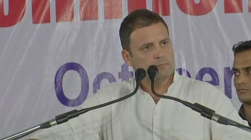 Rahul Gandhi was addressing a gathering on the occasion of 'Rajiv Gandhi Sadbhavana Yatra commemoration day' at Charminar. (Photo: ANI   Twitter)