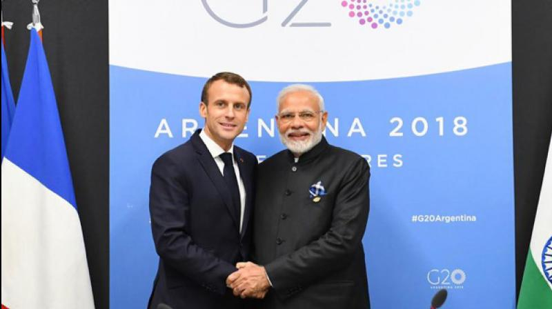 Prime Minister Narendra Modi with French President Emmanuel Macron (Photo: Twitter/ ANI)