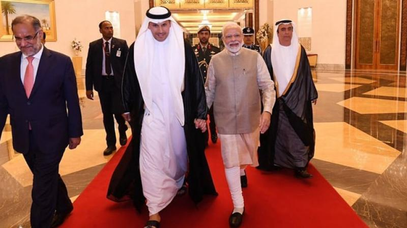 PM Modi reached UAE capital Abu Dhabi from Paris on the second leg of his three-nation tour to France, UAE and Bahrain. (Photo: Twitter/ @narendramodi)
